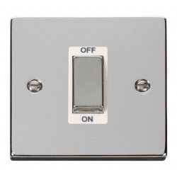 Click Deco Victorian Polished Chrome Ingot 1 Gang 45A Double Pole Switch with White Insert