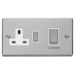 Click Deco Victorian Polished Chrome Ingot 45A Double Pole Switch and 13A Switched Socket with White Insert