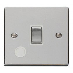 Click Deco Victorian Polished Chrome 20A 1 Gang Double Pole Ingot Switch With Flex Outlet with White Insert