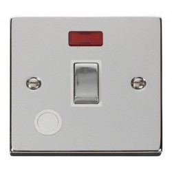 Click Deco Victorian Polished Chrome 20A 1 Gang Double Pole Ingot Switch With Flex Outlet And Neon with White Insert