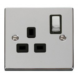 Click Deco Victorian Polished Chrome 1 Gang 13A Double Pole Ingot Switched Socket Outlet with Black Insert
