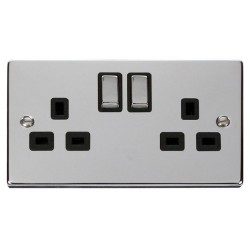 Click Deco Victorian Polished Chrome 2 Gang 13A Double Pole Ingot Switched Socket Outlet with Black Insert