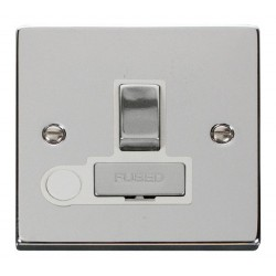 Click Deco Victorian Polished Chrome 13A Fused Ingot Switched Connection Unit With Flex Outlet with White Insert