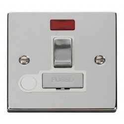Click Deco Victorian Polished Chrome 13A Fused Ingot Switched Connection Unit With Flex Outlet with Neon with White Insert