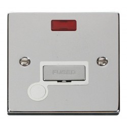 Click Deco Victorian Polished Chrome 13A Fused Ingot Connection Unit With Flex Outlet with Neon with White Insert