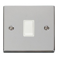 Click Deco Victorian Polished Chrome 20A 1 Gang Double Pole Switch with White Insert