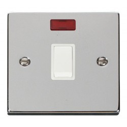 Click Deco Victorian Polished Chrome 20A 1 Gang Double Pole Switch with Neon with White Insert