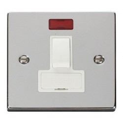 Click Deco Victorian Polished Chrome 13A Fused Switched Connection Unit With Neon with White Insert