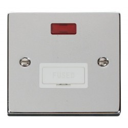 Click Deco Victorian Polished Chrome 13A Fused Connection Unit With Neon with White Insert