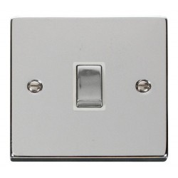 Click Deco Victorian Polished Chrome 20A 1 Gang Double Pole Ingot Switch with White Insert