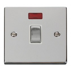 Click Deco Victorian Polished Chrome 20A 1 Gang Double Pole Ingot Switch with Neon with White Insert