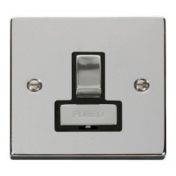Click Deco Victorian Polished Chrome 13A Fused Ingot Switched Connection Unit with Black Insert