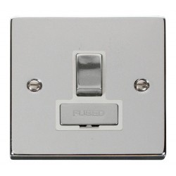 Click Deco Victorian Polished Chrome 13A Fused Ingot Switched Connection Unit with White Insert
