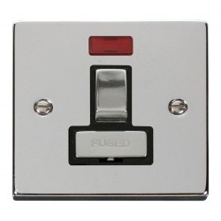 Click Deco Victorian Polished Chrome 13A Fused Ingot Switched Connection Unit With Neon with Black Insert