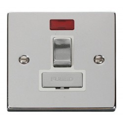 Click Deco Victorian Polished Chrome 13A Fused Ingot Switched Connection Unit With Neon with White Insert