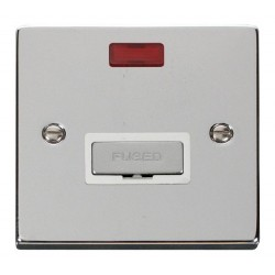 Click Deco Victorian Polished Chrome 13A Fused Ingot Connection Unit With Neon with White Insert