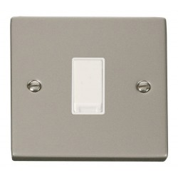 Click Deco Victorian Pearl Nickel 1 Gang 2 Way 10AX Switch with White Insert