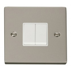 Click Deco Victorian Pearl Nickel 2 Gang 2 Way 10AX Switch with White Insert