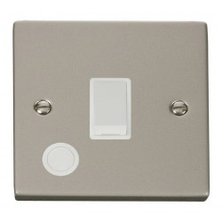 Click Deco Victorian Pearl Nickel 20A 1 Gang Double Pole Switch With Flex Outlet with White Insert