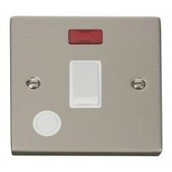 Click Deco Victorian Pearl Nickel 20A 1 Gang Double Pole Switch With Flex Outlet And Neon with White Inse...