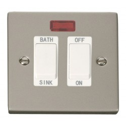 Click Deco Victorian Pearl Nickel 20A Double Pole Sink/Bath Switch with White Insert