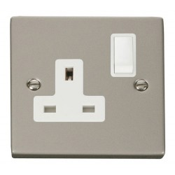 Click Deco Victorian Pearl Nickel 1 Gang 13A Double Pole Switched Socket Outlet with White Insert
