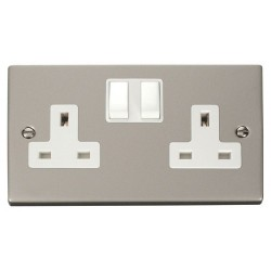 Click Deco Victorian Pearl Nickel 2 Gang 13A Double Pole Switched Socket Outlet with White Insert