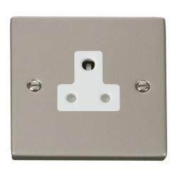 Click Deco Victorian Pearl Nickel 5A Round Pin Socket Outlet with White Insert