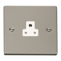 Click Deco Victorian Pearl Nickel 2A Round Pin Socket Outlet with White Insert