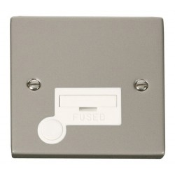 Click Deco Victorian Pearl Nickel 13A Fused Connection Unit With Flex Outlet with White Insert