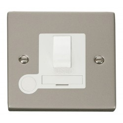 Click Deco Victorian Pearl Nickel 13A Fused Switched Connection Unit With Flex Outlet with White Insert