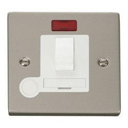 Click Deco Victorian Pearl Nickel 13A Fused Switched Connection Unit With Flex Outlet with Neon with Whit...