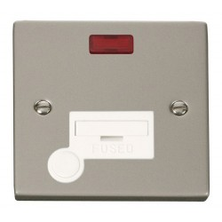 Click Deco Victorian Pearl Nickel 13A Fused Connection Unit With Flex Outlet with Neon with White Insert