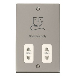 Click Deco Victorian Pearl Nickel Dual Voltage Shaver Socket Outlet 115/230V with White Insert