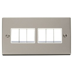 Click Deco Victorian Pearl Nickel 6 Gang 2 Way 10AX Switch with White Insert