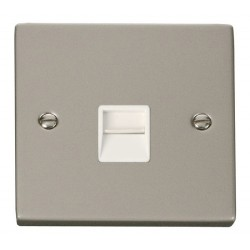 Click Deco Victorian Pearl Nickel Single Telephone Socket Outlet Secondary with White Insert