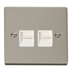 Click Deco Victorian Pearl Nickel Twin Telephone Socket Outlet Secondary with White Insert