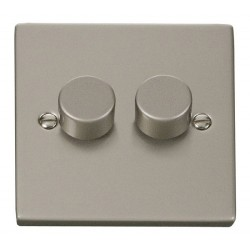 Click Deco Victorian Pearl Nickel 2 Gang 2 Way 400W Dimmer Switch