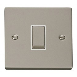 Click Deco Victorian Pearl Nickel 1 Gang 2 Way Ingot 10AX Switch with White Insert