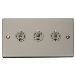 Click Deco Victorian Pearl Nickel 3 Gang 2 Way 10AX Toggle Switch