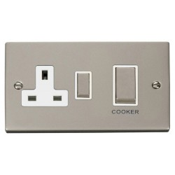 Click Deco Victorian Pearl Nickel Ingot 45A Double Pole Switch and 13A Switched Socket with White Insert
