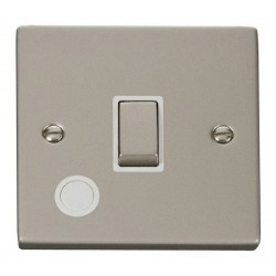 Click Deco Victorian Pearl Nickel 20A 1 Gang Double Pole Ingot Switch With Flex Outlet with White Insert