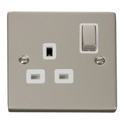 Click Deco Victorian Pearl Nickel 1 Gang 13A Double Pole Ingot Switched Socket Outlet with White Insert