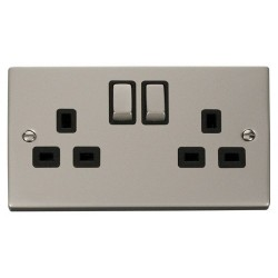 Click Deco Victorian Pearl Nickel 2 Gang 13A Double Pole Ingot Switched Socket Outlet with Black Insert