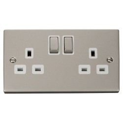 Click Deco Victorian Pearl Nickel 2 Gang 13A Double Pole Ingot Switched Socket Outlet with White Insert