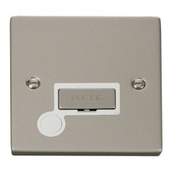 Click Deco Victorian Pearl Nickel 13A Fused Ingot Connection Unit With Flex Outlet with White Insert