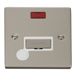Click Deco Victorian Pearl Nickel 13A Fused Ingot Connection Unit With Flex Outlet with Neon with White Insert