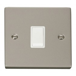 Click Deco Victorian Pearl Nickel 20A 1 Gang Double Pole Switch with White Insert
