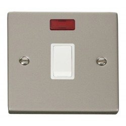 Click Deco Victorian Pearl Nickel 20A 1 Gang Double Pole Switch with Neon with White Insert