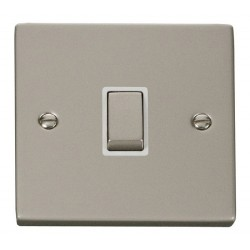 Click Deco Victorian Pearl Nickel 20A 1 Gang Double Pole Ingot Switch with White Insert